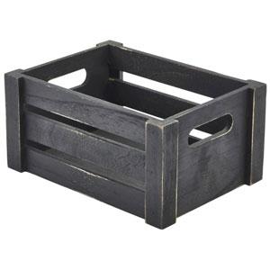 Genware Wooden Crate Black Finish 22.8 x 16.5 x 11cm