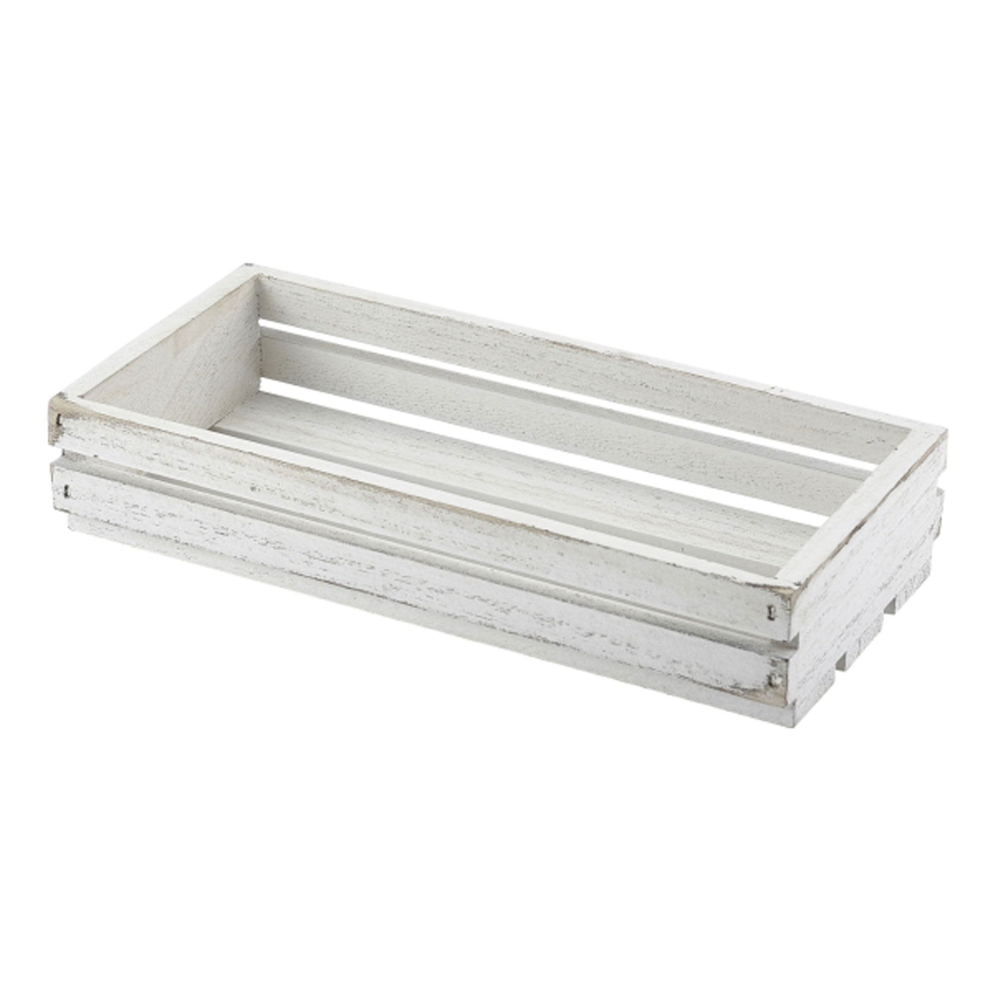 Genware Wooden Crate White Wash Finish 25 x 12 x 5cm