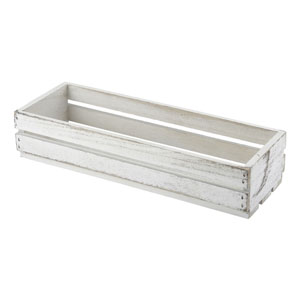 Genware Wooden Crate White Wash Finish 34 x 12 x 7cm