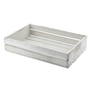 Genware Wooden Crate White Wash Finish 35 x 23 x 8cm