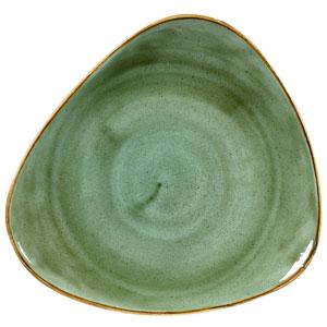 "Churchill Stonecast Samphire Green Triangular Plate 10"" / 26.5cm"