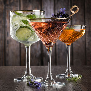 Timeless Vintage Martini Glasses Gold Rim 8oz / 230ml