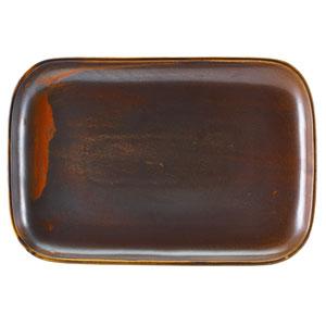 "Terra Porcelain Rectangular Plates Rustic Copper 13.6"" / 34.5cm"