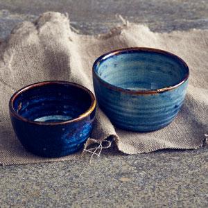 """Terra Porcelain Round Bowls Aqua Blue 4.9"""" / 12.5cm"""