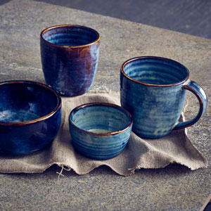Terra Porcelain Chip Cups Aqua Blue 11.25oz / 320ml