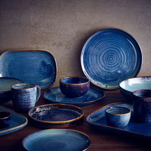 "Terra Porcelain Rectangular Plates Aqua Blue 13.6"" / 34.5cm"