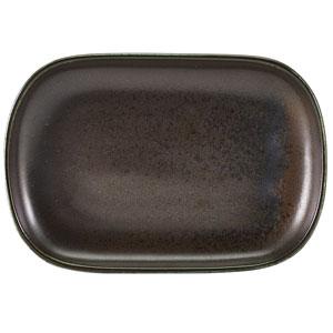 """Terra Porcelain Rectangular Plates Black 9.4"""" / 24cm"""
