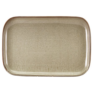 "Terra Porcelain Rectangular Plates Grey 13.6"" / 34.5cm"