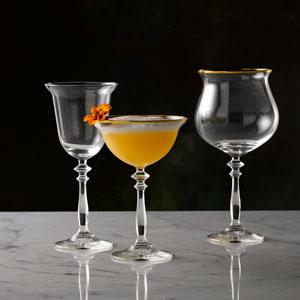 Vintage 1924 Gold Banded Gin Goblets 21.75oz / 610ml