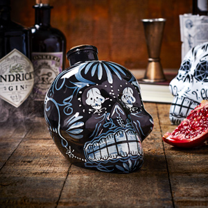 Day of the Dead Skull Decanter Black