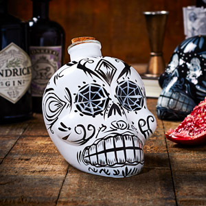 Day of the Dead Skull Decanter White