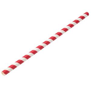 Jumbo Red Stripe Paper Straws 9inch