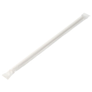 Wrapped White Stripe Paper Straw 8inch