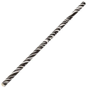 Zebra Paper Straws 8inch