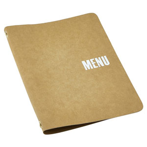Washable Paper A5 Menu Holder Brown