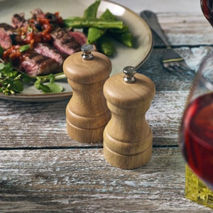 Genware Light Wood Salt or Pepper Grinder