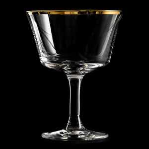 Urban Bar Retro Gold Rim Fizz Cocktail Glasses 7oz / 200ml