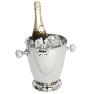 Hammered Wine Cooler with Crystal Handles