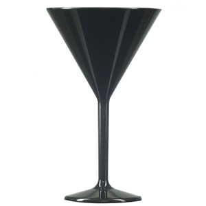 Elite Premium Polycarbonate Martini Glasses Black 7oz / 200ml