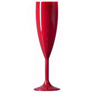 Elite Premium Polycarbonate Champagne Flutes Red 6oz / 187ml