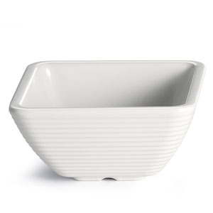 Melamime Ribbed Square Ramekin White 4oz / 120ml