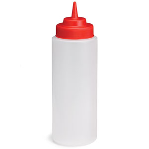 Widemouth Squeeze Sauce Bottle Clear with Red Top 16oz / 475ml