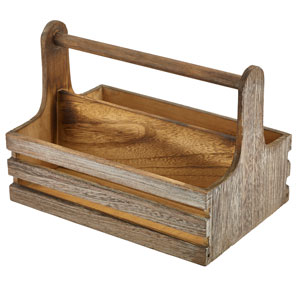 Genware Medium Rustic Wooden Table Caddy