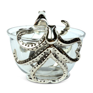 Octopus and Glass Bowl with Wrap Around Tentacles