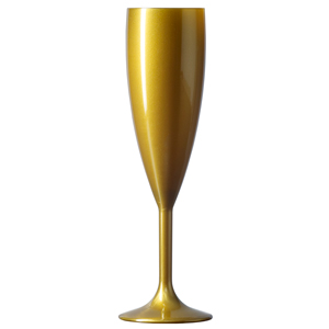 Elite Premium Polycarbonate Champagne Flutes Gold 6.6oz / 187ml