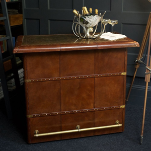 Panama Cognac Leather Bar Counter with Brass Top