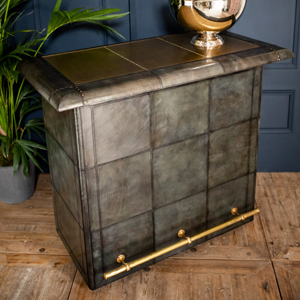 Panama Dark Grey Leather Bar Counter with Brass Top