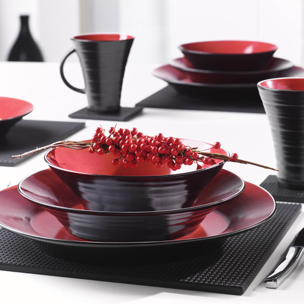 Tornado 16 Piece Dinner Set Black And Red Drinkstuff
