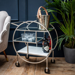 Mayfair Three Tier Drinks Trolley Silver