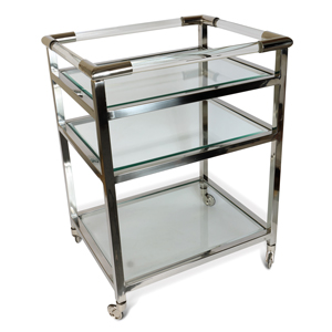 Art Deco Drinks Trolley Nickel Finish