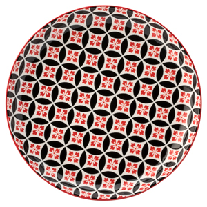 Cadiz Red & Black Plate 8inch / 20cm