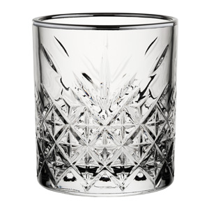 Timeless Vintage Double Old Fashioned Tumblers Gunmetal Rim 12.5oz / 355ml