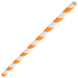 Orange & White Paper Straws 8inch
