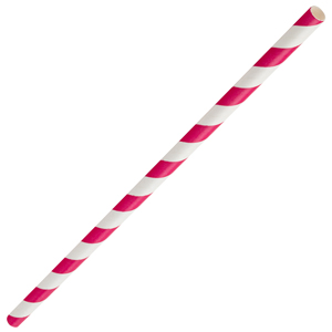 Pink & White Paper Straws 8inch