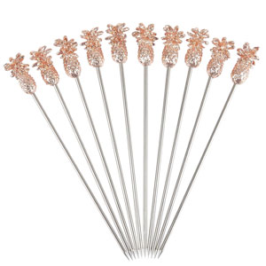 Copper Plated Pineapple Cocktail Picks