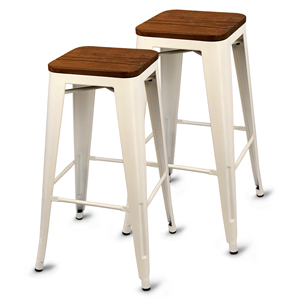 Urban Loft Metal Bar Stool White