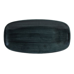 Churchill Stonecast Patina Rustic Teal Chefs Oblong Plate 13.87inch / 35.5cm