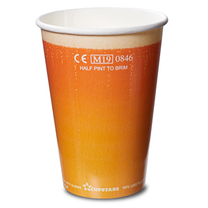 Recyclable Paper Cups Half Pint to Rim Beer Design CE CE 10oz / 285ml