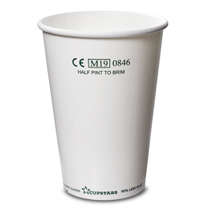 Recyclable Paper Cups Half Pint to Rim White CE CE 10oz / 285ml