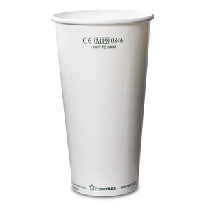 Recyclable Paper Cups Pint to Rim White CE 20oz / 568ml