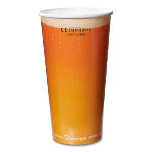 Recyclable Paper Cups Pint to Rim Beer Design CE 20oz / 568ml