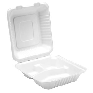 Bagasse 3 Compartment Meal Box 8.6inch / 22cm