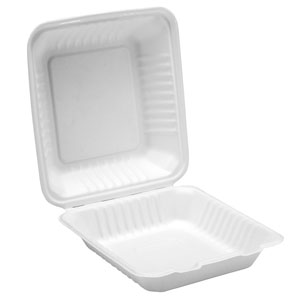 Bagasse Clamshell Meal Box 9.25inch / 23.5cm