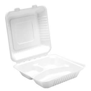 Bagasse 3 Compartment Meal Box 9.25inch / 23.5cm
