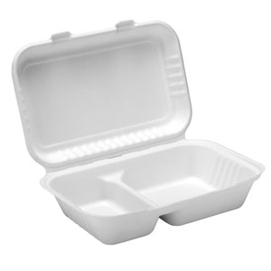 Bagasse 2 Compartment Lunch Box 9inch / 23cm