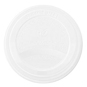 Compotable White CPLA Lids to Fit 89mm Paper Cups